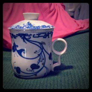 Fine china 3pice tea cup,diffuser, lid